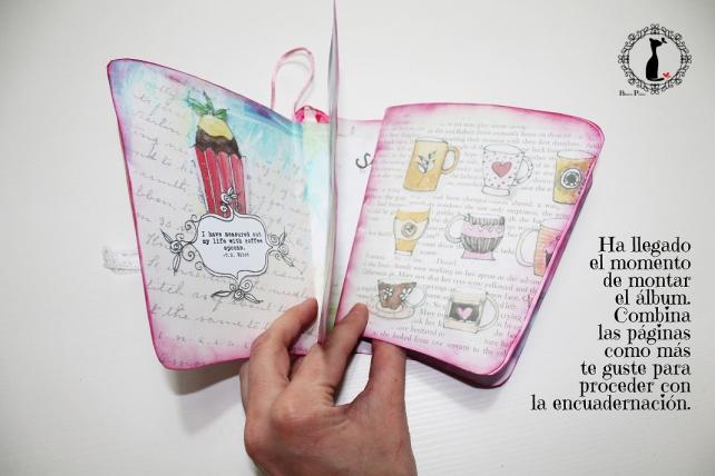 Tutorial paso a paso Mini album taza café - Cinderella 16