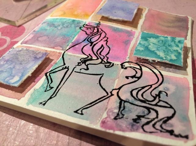Tutorial Cinderella - tarjeta acuarela cuadritos 21