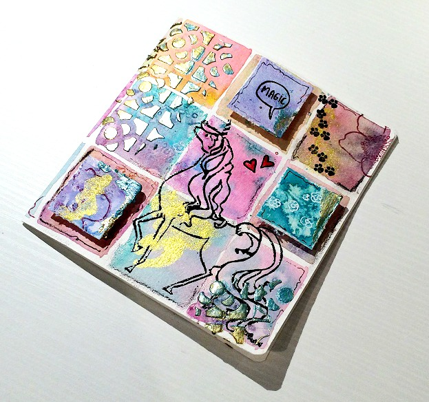 Tutorial Cinderella - tarjeta acuarela cuadritos 25