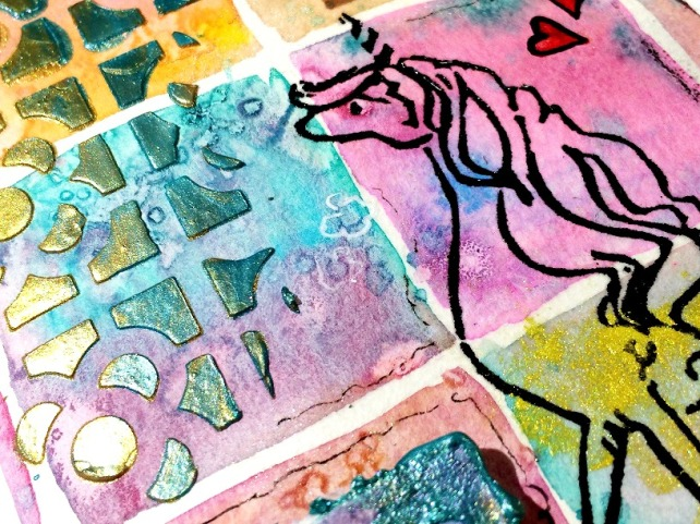 Tutorial Cinderella - tarjeta acuarela cuadritos 27