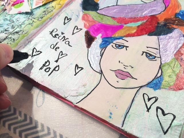 Reina de Corazones Pop - tutorial artjournal 7