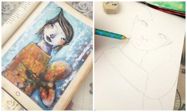 tutorial inspiración Karen O'Brien - página mixedmedia artjournal 1