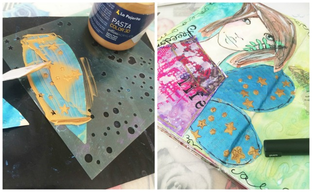 tutorial inspiración Karen O'Brien - página mixedmedia artjournal 10
