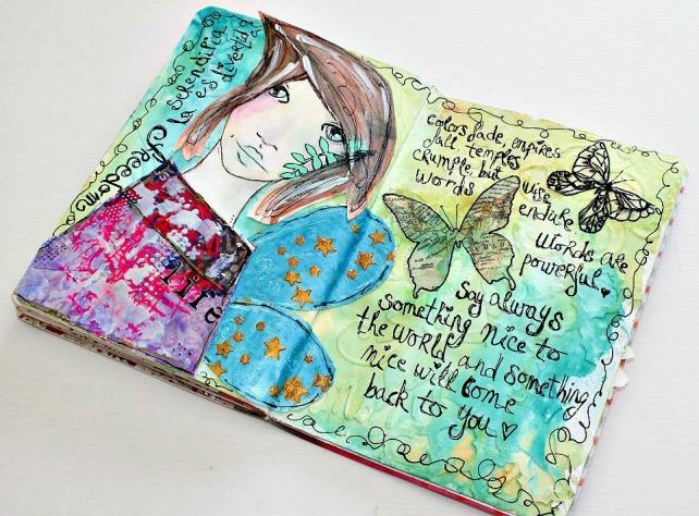 tutorial inspiración Karen O'Brien - página mixedmedia artjournal 12