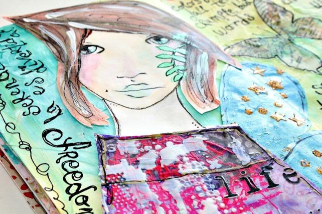 tutorial inspiración Karen O'Brien - página mixedmedia artjournal 13