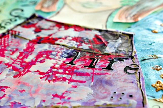 tutorial inspiración Karen O'Brien - página mixedmedia artjournal 16