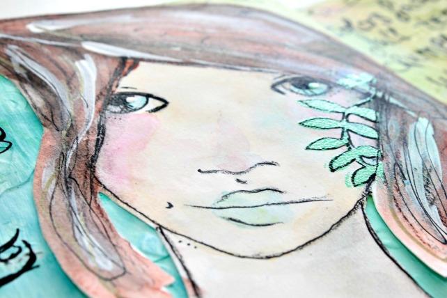 tutorial inspiración Karen O'Brien - página mixedmedia artjournal 17