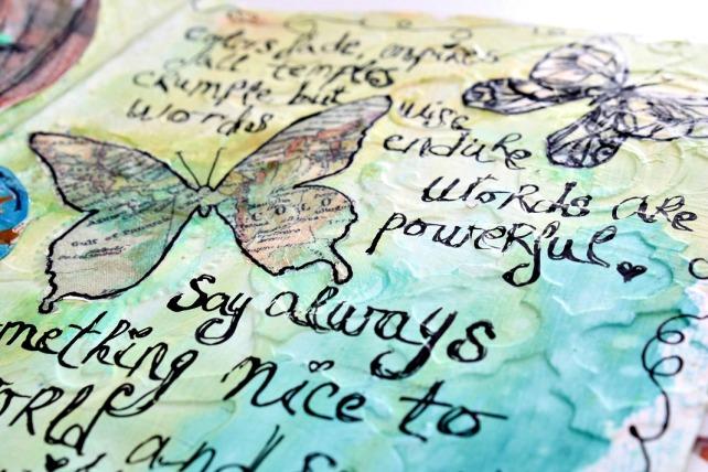tutorial inspiración Karen O'Brien - página mixedmedia artjournal 18