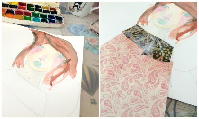 tutorial inspiración Karen O'Brien - página mixedmedia artjournal 2