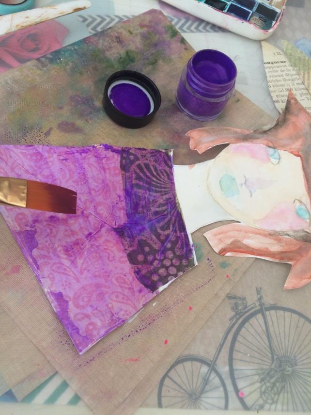 tutorial inspiración Karen O'Brien - página mixedmedia artjournal 3