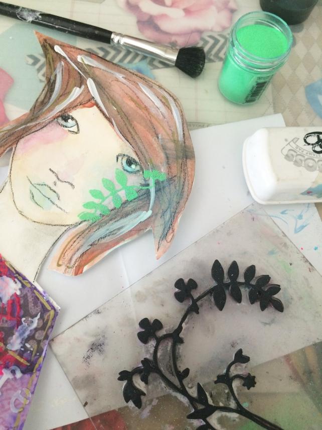 tutorial inspiración Karen O'Brien - página mixedmedia artjournal 8